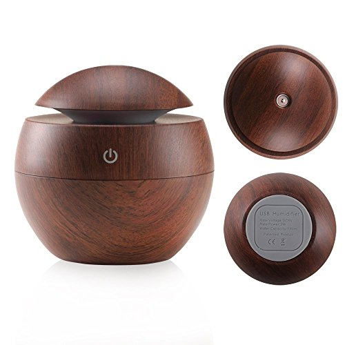 Ultrasonic Essential Oil Diffuser - Humidifier with LED Lights, Compact Size, Silent Operation and Easy-Travel USB Power (Deep wood grain) by JUN-Q (Image #2)