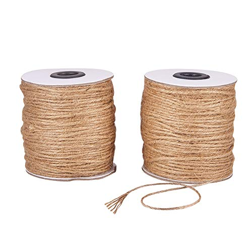 JEWELEADER 2 Rolls 600 Feet Natural Jute Twine 6 Ply Arts and Crafts Cord 2mm Hemp Packing String Rope for Wedding Invitations Christmas Bottle Decoration Gardening Bundling Applications Peru]()