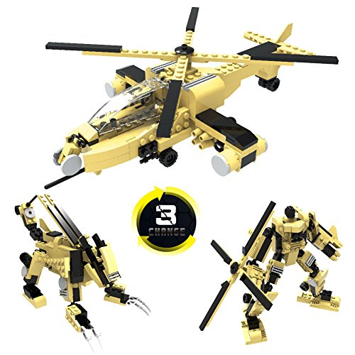 Helicopter Block - FreeBex Boeing RAH-66 Comanche DIY Military Army Airplane Educational Construction Building Blocks Set-Helicopter model Toys with Soldiers-Birthday Gift for Children