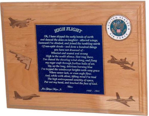 - All American Gifts High Flight Poem Plaque with U.S. Air Force Emblem (USAF) - Includes 2 Lines Personalized Text