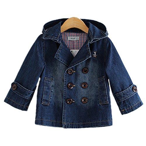 LJYH Toddler Boys' Classic Peacoat Hooded Toggle Denim Coat 5-6yrs Denim