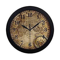 INTERESTPRINT Nautical Old Compass and Rope On Vintage World Map Modern Round Wall Clock Decorative Quartz Clock for Office School Kitchen Bedroom Living Room, Black