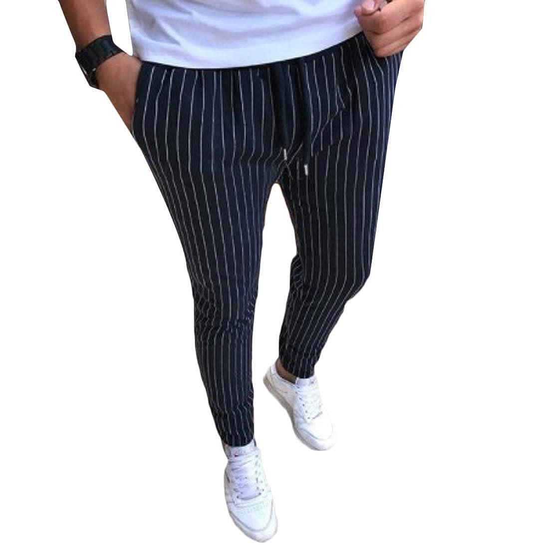 pipigo Mens Slim Stripe High Waist Drawstring Casual Pants Trousers 1 S