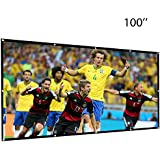 FOONEE 60/70/84/100/120 inch Projector Screen,HD 16:9 Indoor Outdoor Portable Movie Screen Anti-Crease Wall Mounted with Hooks for Home/Theater/Office/School