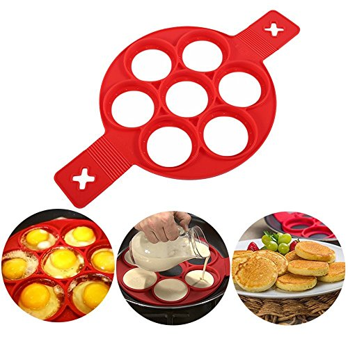 2019 New Upgrade Pancake Molds Ring Fried Egg Mold Reusable Silicone Non Stick Pancake Maker Egg Ring Quickly Make a Cake for You to Save Valuable Time(Red)