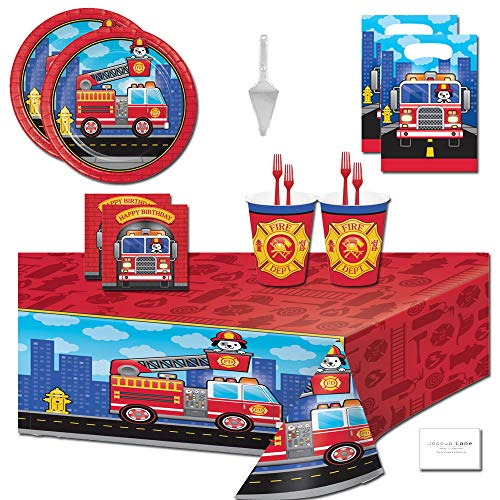 (Fire Truck Party Supplies Firefighter Themed Birthday Party Supplies Tableware for 16 Guests - Plates, Napkins, Cups, Forks, Table Cover, Loot Bags, Cake Server)