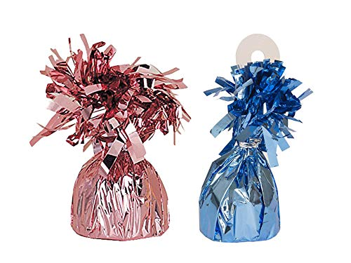 UNIQUE - Foil Balloon Weights, 2 Count, Pink/Blue (2 Balloon Weights)
