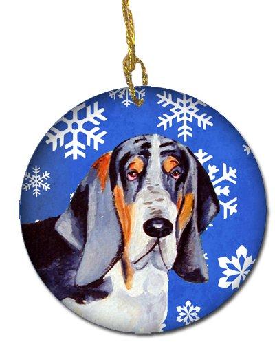 Multicolor Carolines Treasures LH9282-CO1 Basset Hound Winter Snowflake Holiday Ceramic Ornament
