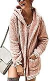 ECOWISH Women's Oversized Fuzzy Fleece Long Sleeve Open Front Hooded Jacket Cardigan Coat Top Winter Outwear with Pockets Pink Small