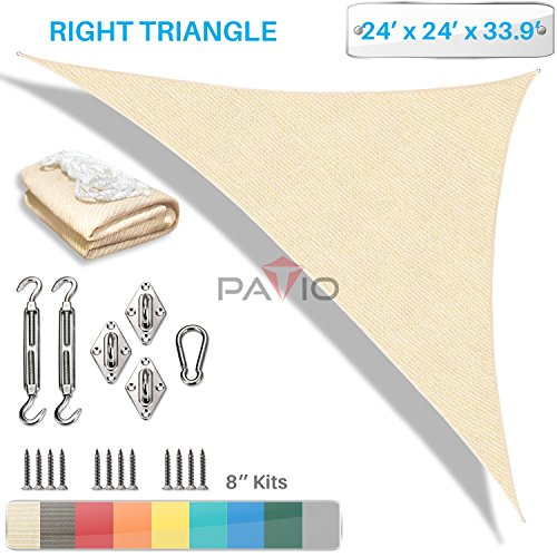 PATIO Paradise 24 x 24 x 34 Sun Shade Sail with 8 inch Hardware Kit, Beige Right Triangle Canopy Durable Shade Fabric Outdoor UV Shelter – 3 Year Warranty – Custom