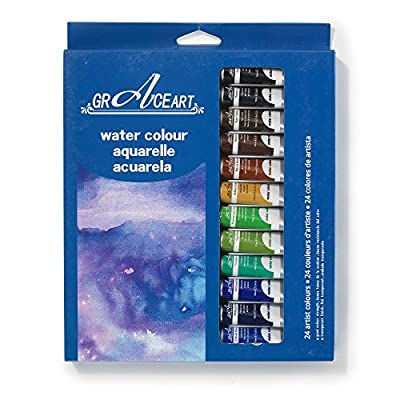 Grace Art Watercolor Paint Set - 24 Vivid Colors, 10 ML Tubes - Ideal For Beginners, Students Or Artists - Excellent Coverage On Paper, Canvas, Wood, Fabric And More .....