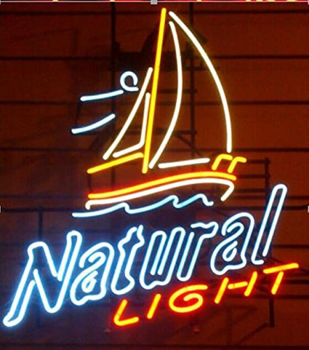 (Natural light Hand crafted glass tube neon sign 17(w)insx14(h) ins Neon Sign Lights Beer Bar sign)