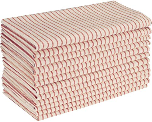 Native Fab Set of 12 Farmhouse Stripe Cloth Dinner Napkins Cotton 18x18 Absorbent Soft Restaurant Hotel Quality, Everyday Use Easy Care Washable Wedding Dinner Napkins Red Beige