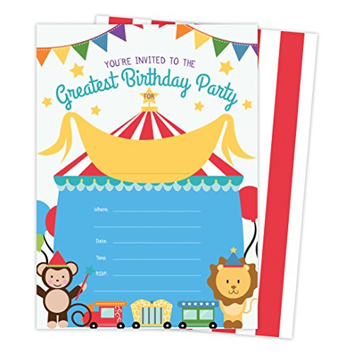 Carnival Circus Style 1 Invitations Invite Cards (25 Count) with Envelopes and Seal Stickers Boys Girls Kids Party (25ct)