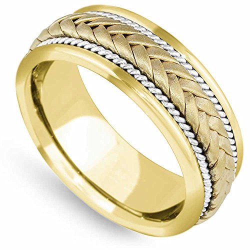 14K Two Tone Gold Braided Wicker Style Men's Comfort Fit Wedding Band (8mm) Size-13