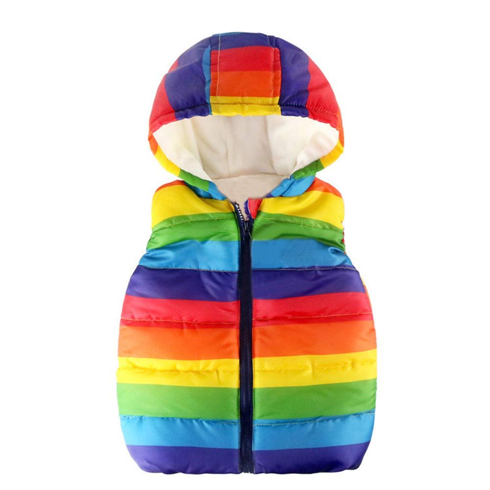 Rosiest Toddler Kids Baby Grils Boys Sleeveless Strip Rainbow Hooded Warm Waistcoat Tops