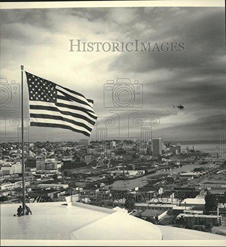 1982 Flag (1982 Press Photo Flag flying over Tacoma, Washington - spb19973)
