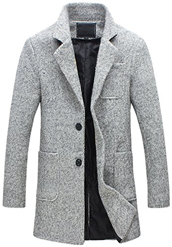 Chouyatou Men's Classic Notched Collar 2 Button Tailoring Wool Blend Tweed Over Coats (Lightgrey, X-Large) - Blend 2 Button Jacket