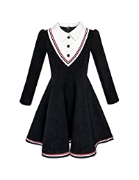 Sunny Fashion Girls Dress School White Collar Long Sleeve Striped Size 4-12
