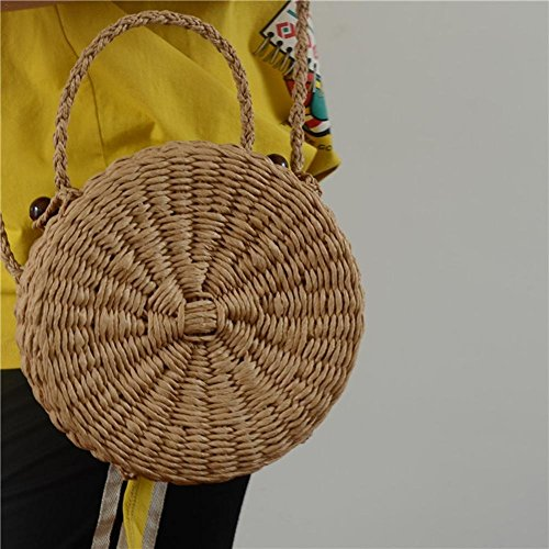 solo mano tejido rattan redondo de mujeres a Bolsos de Bolso para playa Biback by de Bolso paja hombro de tejido aq5FxZzw