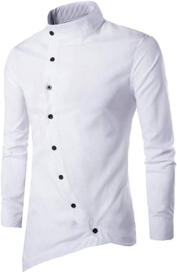 Doufine Mens Tops Solid Color Mao Collar Stylish Button-Down-Shirts