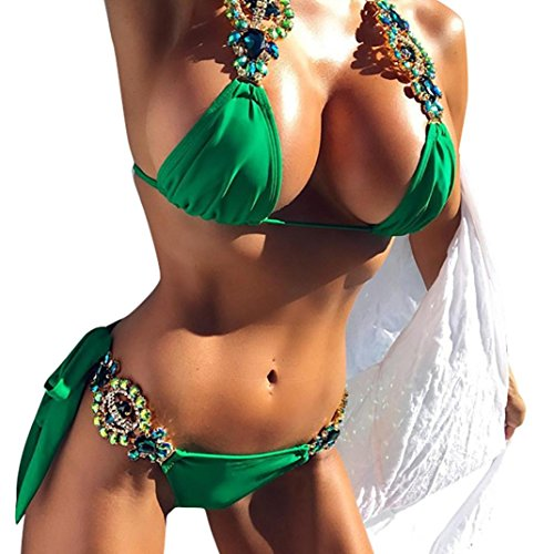 (Clearance,Yang-Yi Fashion Summer Women Bikinis Set Swimwear Casual Push up Swimsuit Push Up Solid Bikini (Green, XS))