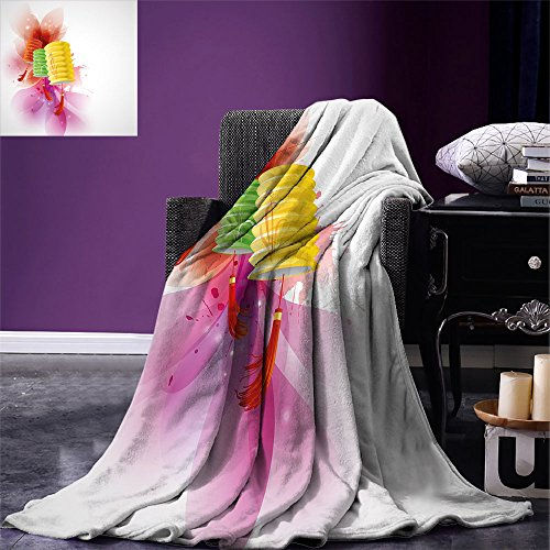 (smallbeefly Lantern Digital Printing Blanket Mid Autumn Celebration Singapore China East Culture Festival Candles Happiness Summer Quilt Comforter Multicolor)