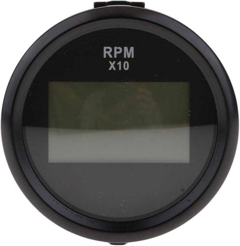 52mm 2Digitalanzeige Drehzahlmesser Digitalanzeige Betriebsstrom Schwarz Schwarz /≤60mA F/ür Boot