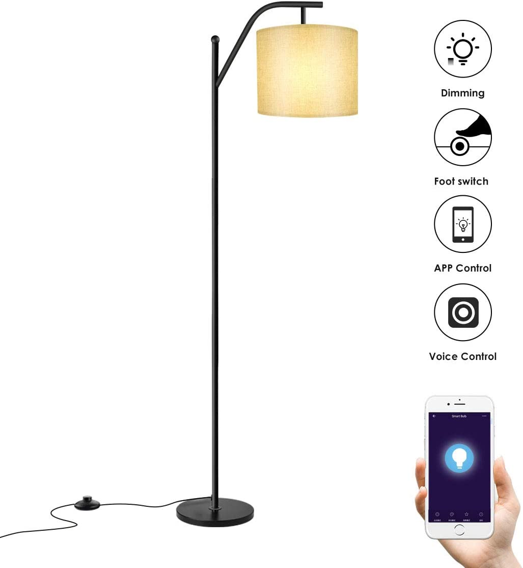 Floor lamp, Wellwerks Smart Light with Wi-Fi Bulb ,- Classic Standing Industrial Arc Light with Lamp Shade, Modern Floor Lamp for Bedroom, Living Room, Study Room