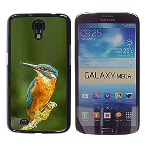 Pájaro tropical amarillo azul Rama Verde- Metal de aluminio y de plástico duro Caja del teléfono - Negro - Samsung Galaxy Mega 6.3