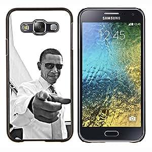 KLONGSHOP // Cubierta de piel con cierre a presión Shell trasero duro de goma Protección Caso - América Patriotismo Usted Negro - Samsung Galaxy E5 E500 //