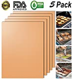 #3: Looch Gold Grill Mat Set of 5- 100% Non-stick BBQ Grill & Baking Mats - FDA-Approved, PFOA Free, Reusable and Easy to Clean - Works on Gas, Charcoal, Electric Grill and More - 15.75 x 13 Inch