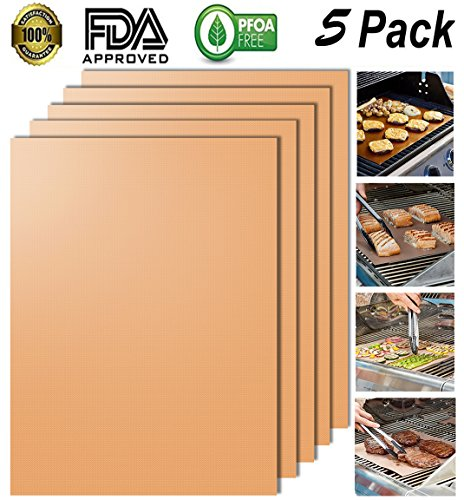 Looch Gold Grill Mat Set of 5- 100% Non-stick BBQ Grill & Baking Mats - FDA-Approved, PFOA Free, Reusable and Easy to Clean - Works on Gas, Charcoal, Electric Grill and More - 15.75 x 13 Inch