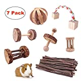 7pcs Small Pets Chew Toys Natural Pine Wooden Unicycle Roller Exercise Dumbbell Teeth Care Molar Toy for Hamster Guinea Pig Chinchilla Rabbits