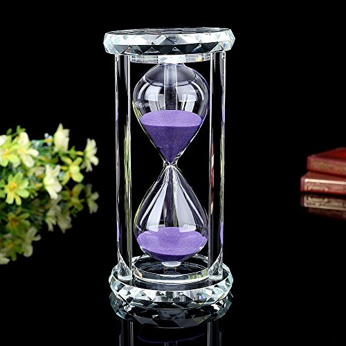 Hourglass Large (Siveit Crystal Hourglass Sand Timer with Gift Box, 30 min - Purple)