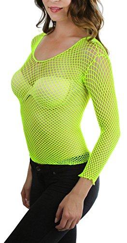 ToBeInStyle Women's Long Sleeve Spandex Diamond Net Cami (One Size Regular, Neon -