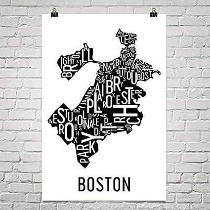 Amazon Com Boston Typography Neighborhood Map Art City Print