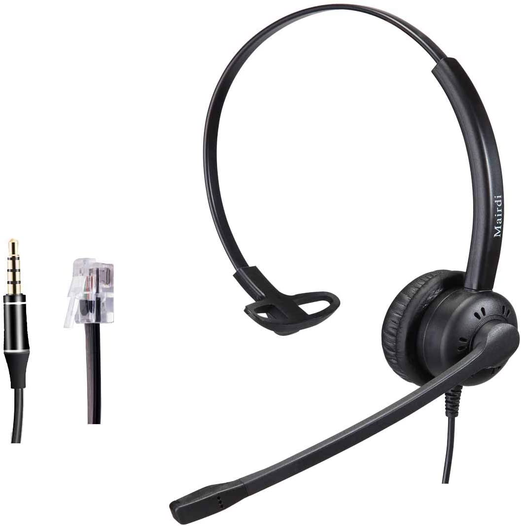 Telephone Headset with RJ9 Jack and Noise Cancelling Microphone for Call Centers Offices with Two Connectors RJ9 and 3.5mm Compatible with Avaya Nortel Aastra Toshiba Jabra