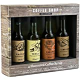 Set of 4 Flavoured Coffee Syrup in Gift Box, Hazelnut, Vanilla, Caramel and Cinnamon - 4 x 85ml