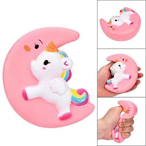 Wotryit Squishy Cute Moon Unicorn Scented Cream Slow Rising Squeeze Decompression Toys (pink)