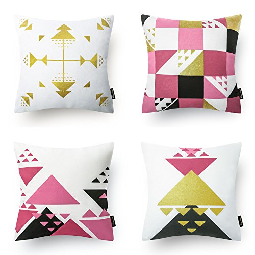 Phantoscope Set of 4 Pink and Gilding Gold Geometric 100% Cotton Throw Case Accent Pillow Cushion Cover 18 x 18 45cm x 45cm