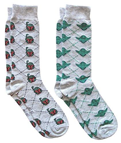 Hyp Star Wars Boba Fett/Yoda Argyle Men's Crew Socks 2 Pair Pack Shoe Size 6-12