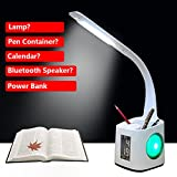 LED Desk Lamp Eye-caring Table Lamps, Dimmable Office Studying Lamp with USB Charging Port, Touch Control, 3 Color Mode, White, Calendar, Power Bank Function