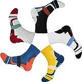 TongXG Men's 5 Pack Cotton Quarter Sports Athletic Colorful Pattern Socks (6-13, black/white/yellow/blue/grey)