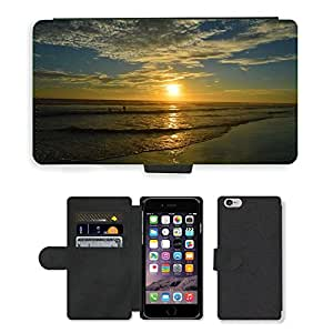PU Cuir Flip Etui Portefeuille Coque Case Cover véritable Leather Housse Couvrir Couverture Fermeture Magnetique Silicone Support Carte Slots Protection Shell // M00158871 Puesta de sol del mar del océano de // Apple iPhone 6 4.7""