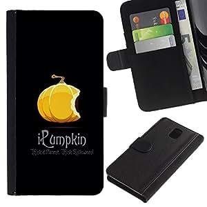 KingStore / Leather Etui en cuir / Samsung Galaxy Note 3 III / Calabaza anaranjada de Halloween caída del oto?o Negro