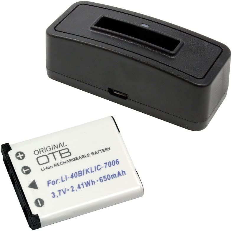 para Olympus FE-5020;Bater/ía substituye: Olym LI-40B//LI-42B Cas NP-80 Trav DS-5370 Kod KLIC-7006 650mAh Nik EN-EL10 Estaci/ón de bater/ía y bater/ía Fuji NP-45