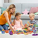 154 Pcs Magnetic Tiles Building Blocks Set for Kids Magnetic Tiles STEM Preschool Educational Construction Kit for Kids Birthday Xmas Gift for Boys Girls Age of 3,4,5,6,7,8 Year old