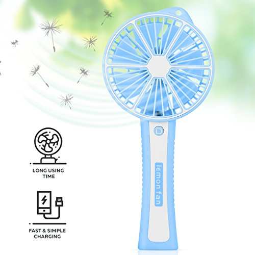 Function Labs Personal Mini USB Handheld Cooling Fan - Rechargeable, Compact and Portable, Quiet Fan Speed - Perfect Home, Camping, Kids, Gifts (Lemon Blue)