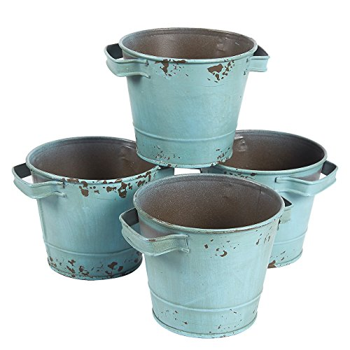 4-Set Vintage Galvanized Planter Buckets - Garden Bucket with Handles, Galvanized Metal Pail, Ideal for Planting, Decoration, Storage, Green, 5.3 x 3.7 Inches by Juvale